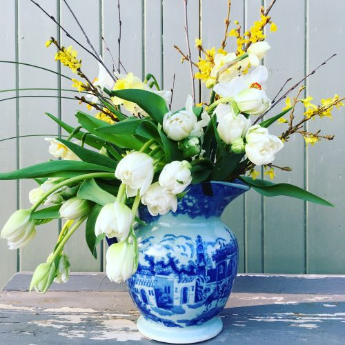 The Little Brick House | Decorative Home Accessories and Gifts | White Tulips in Blue and White Jug