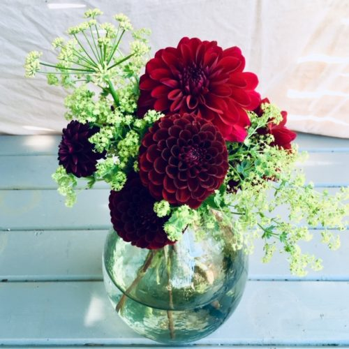 Flowers in Textured Glass Vase