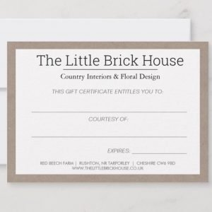 The Little Brick House | Decorative Home Accessories and Flowers | Gift certificate
