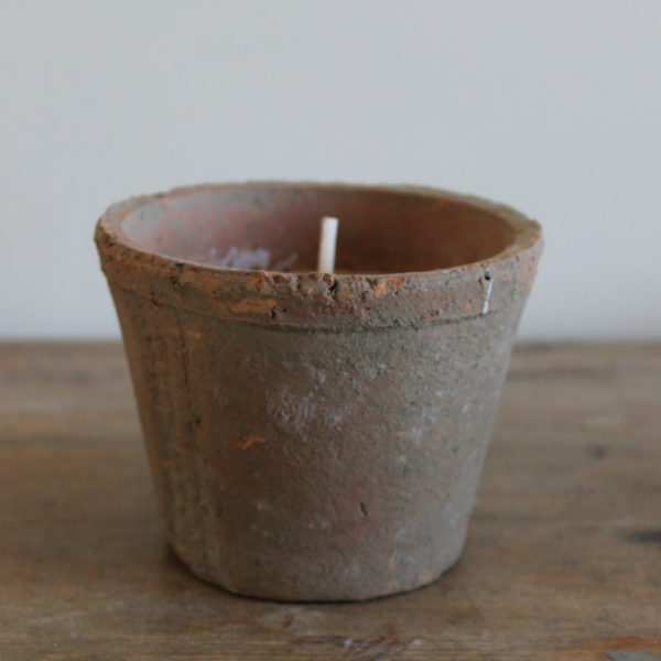 Aged Terracotta Candle Pot