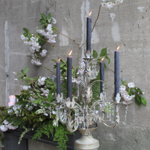 Ornate Candelabra Grey Candles