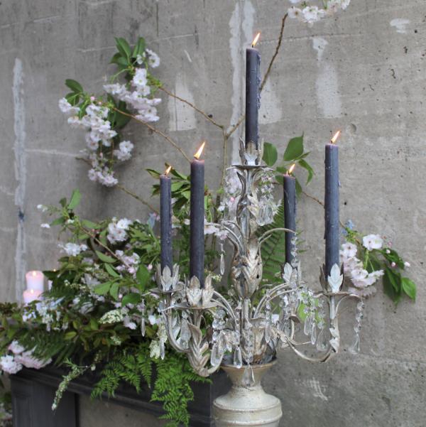 Ornate Candelabra Grey Candles