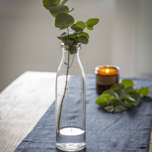 Glass Bottle Vase with Eucalyptus