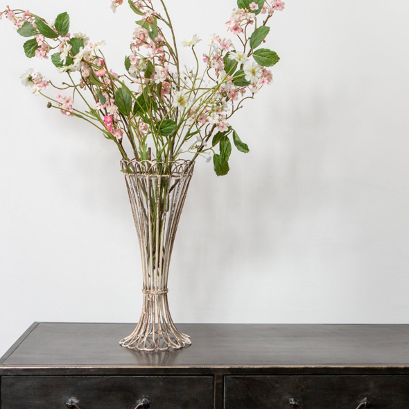 French inspired wire and glass flower vase