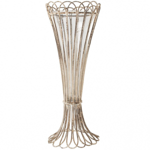 White Vintage Scroll Edge Vase