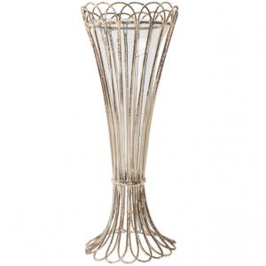 White Vintage Scroll Edge Vase