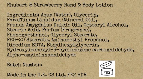 Rhubarb & Strawberry Hand Lotion Ingredients