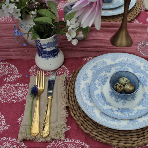 Patterned Tablecloth with vintage crockery