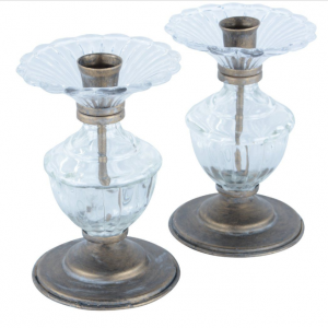Glass & Gold Candlestick