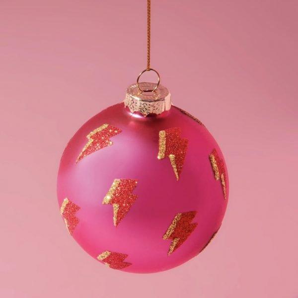 Hot Pink & Lightning Bauble