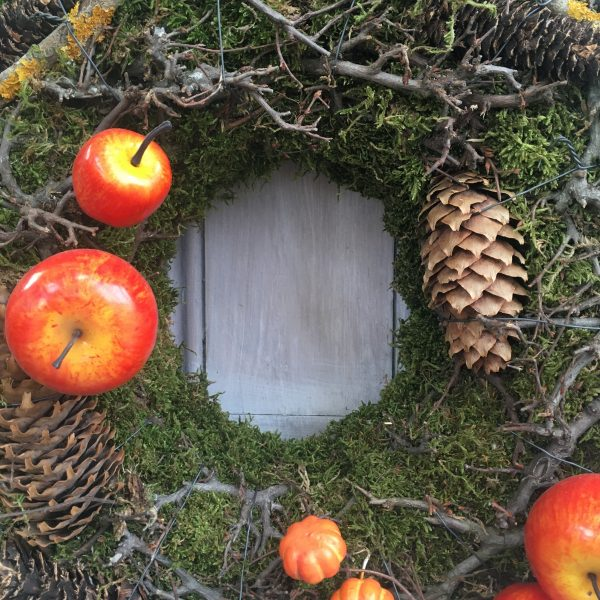 Moss and apple autumn wreath