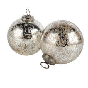 Etched Silver Snowflake Bauble