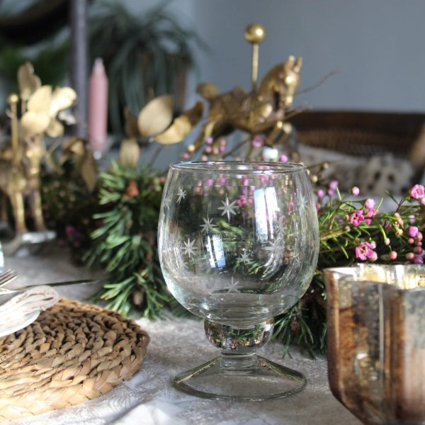 Etched Star Wine Glass