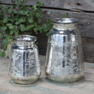 Vintage Silver Etched Vase