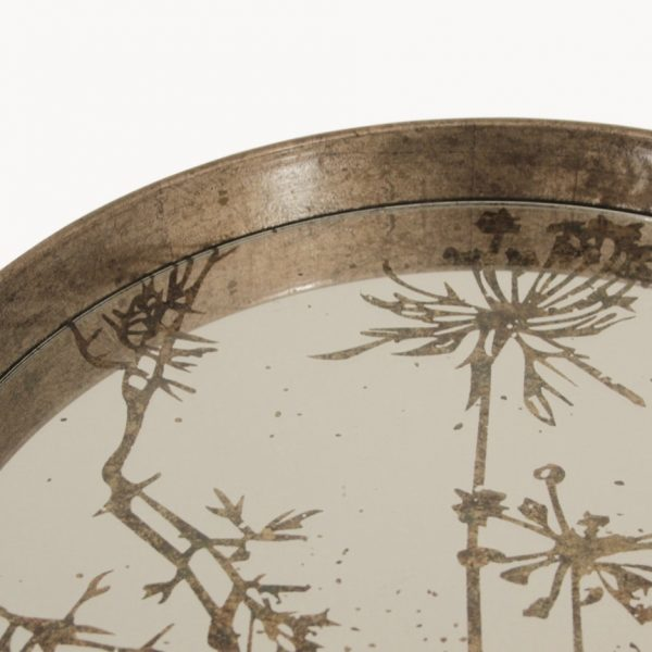 Mirrored Tray with Cow Parsley Pattern