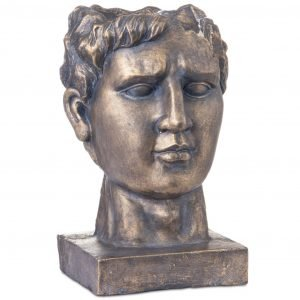 Antique Bronze Roman Head Planter