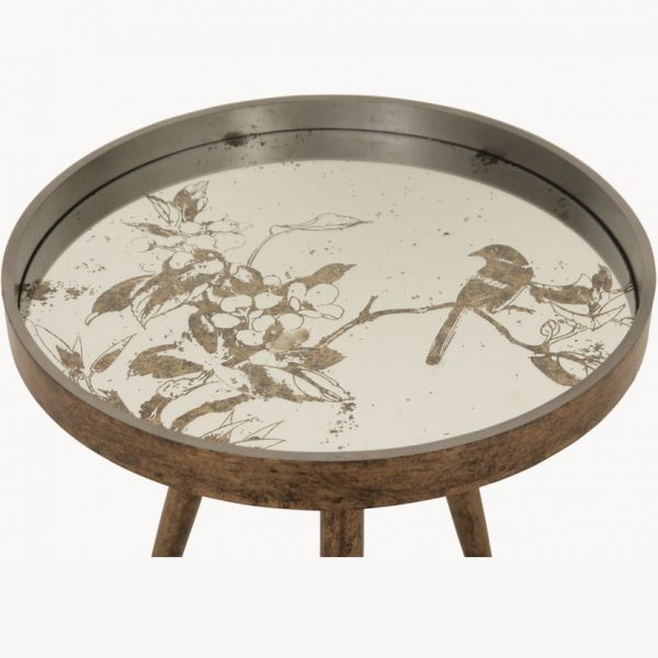 Side Table with Bird Pattern