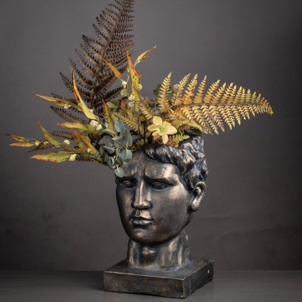 Antique Bronze Roman Head Planter