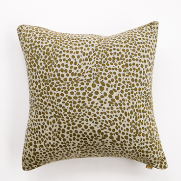 Animal Print Cushion Khaki Green