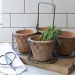 Wire Basket with Terracotta Pots