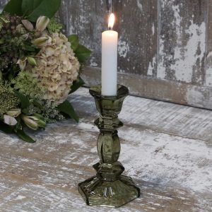 Olive Glass Candlestick