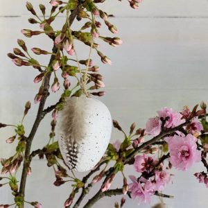 Hanging Egg Decoration with Feather