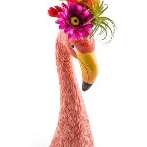 Ceramic Pink Flamingo Head Vase