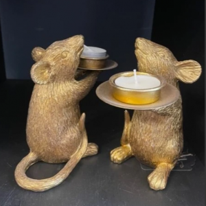 Gold Mouse Candleholders