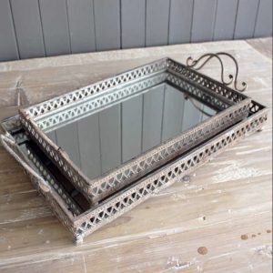 Mirrored Tray Set of 2