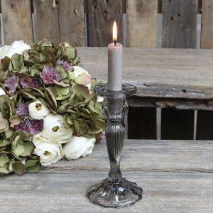 Tall Smoke Grey Glass Candlestick