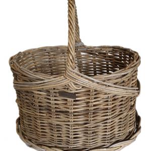 Large Oval Grey Flower Basket