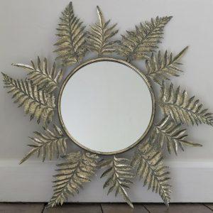 Large Round Leaf Mirror