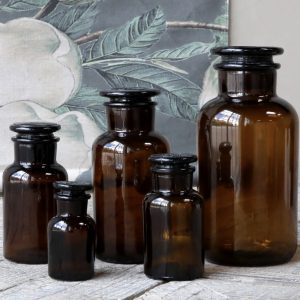 Old French Apothecary Glass Bottle Set