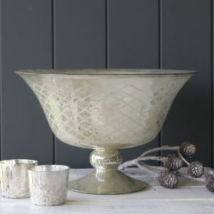 Silver Glass Footed Bowl